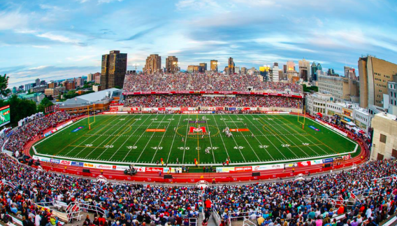 Large stadium filled with fans; McGill University