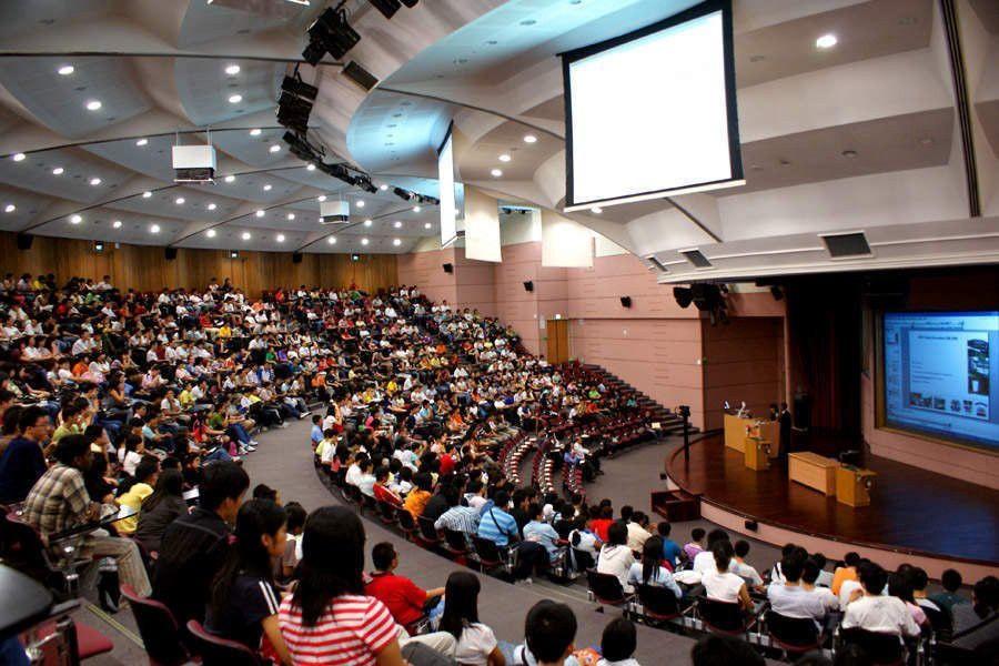 Students in large auditorium