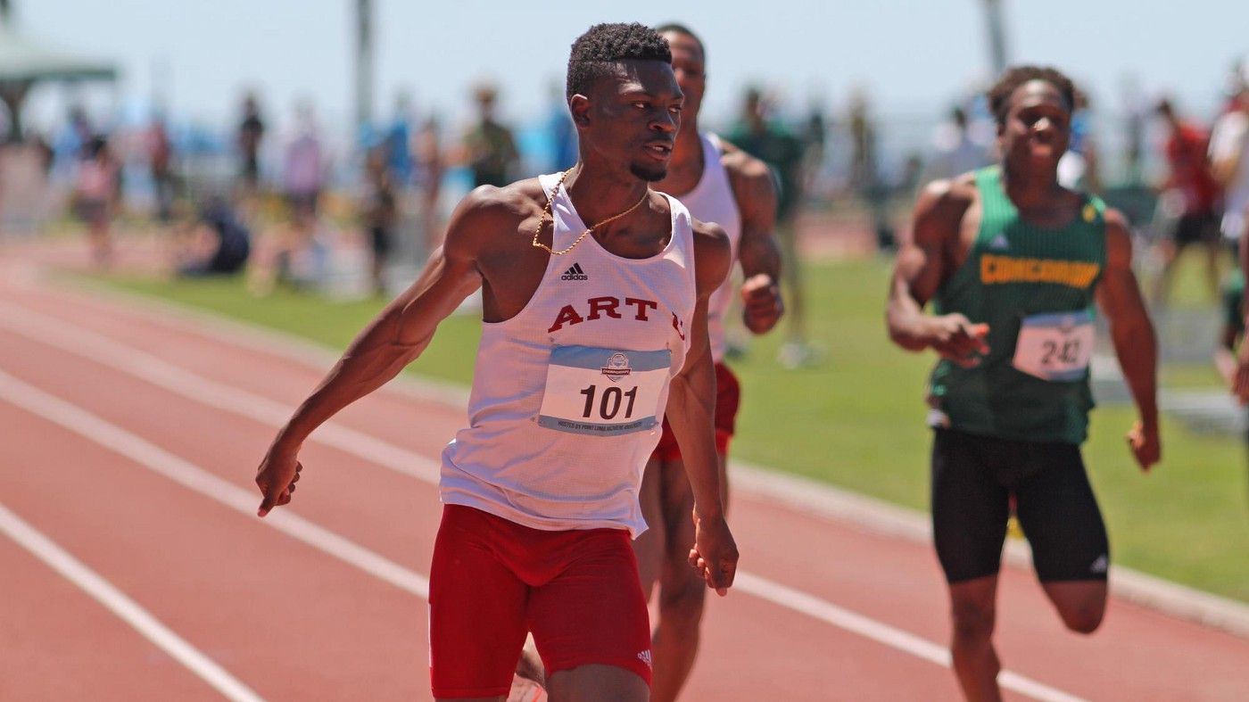 Men's college track and field athlete