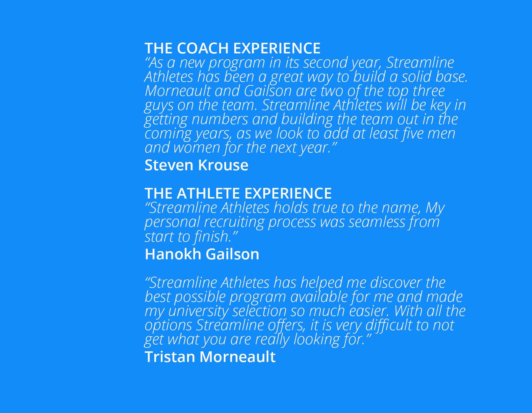 Large image graphic representing the quotes given by Coach Krouse, Athletes Hanohk Gailson and Tristan Morneault
