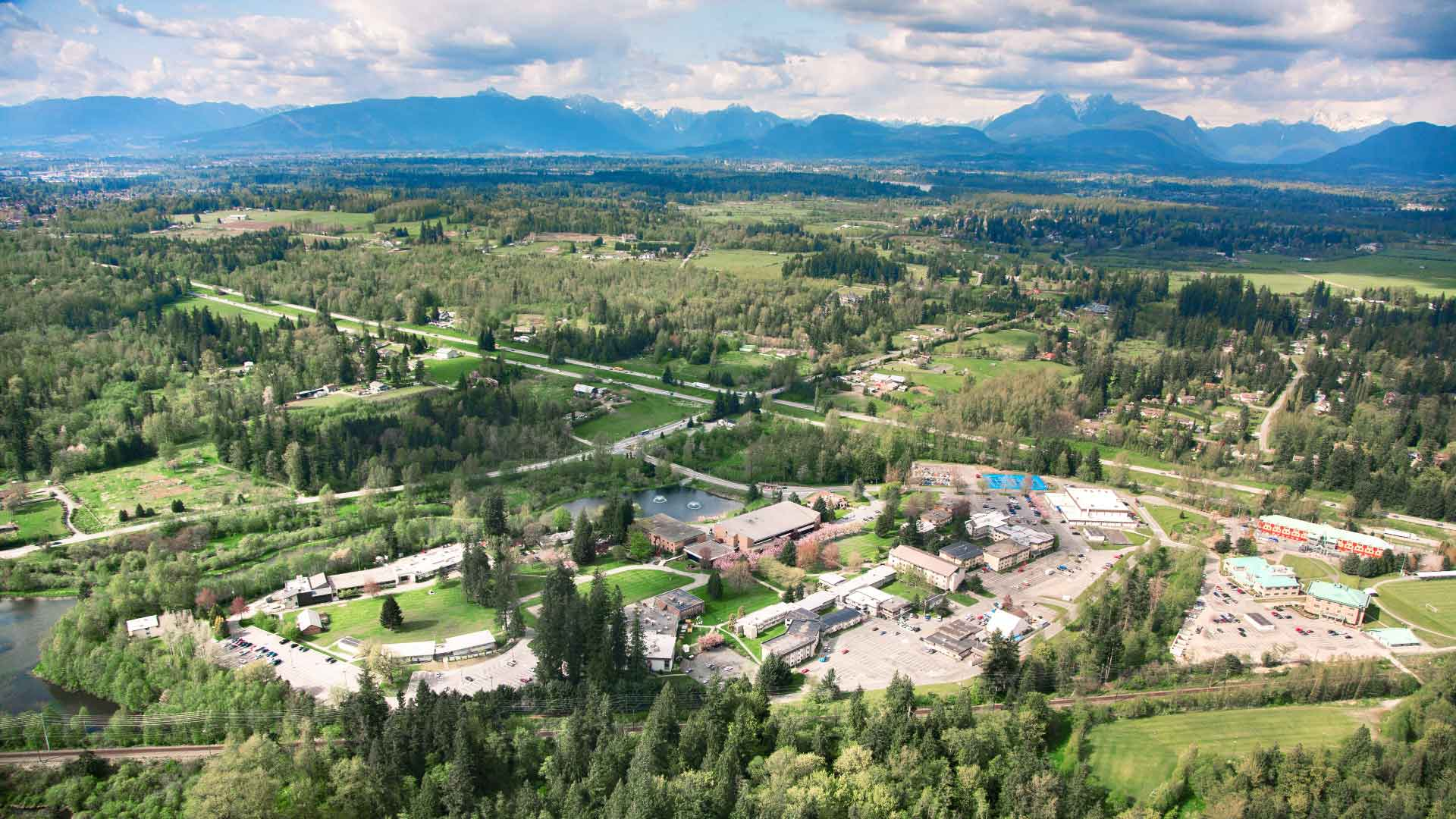 sky-view of the Trinity Western University campus