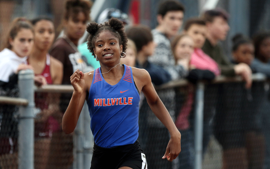 Bryanna Craig at a meet with her previous school Millville in New Jersey