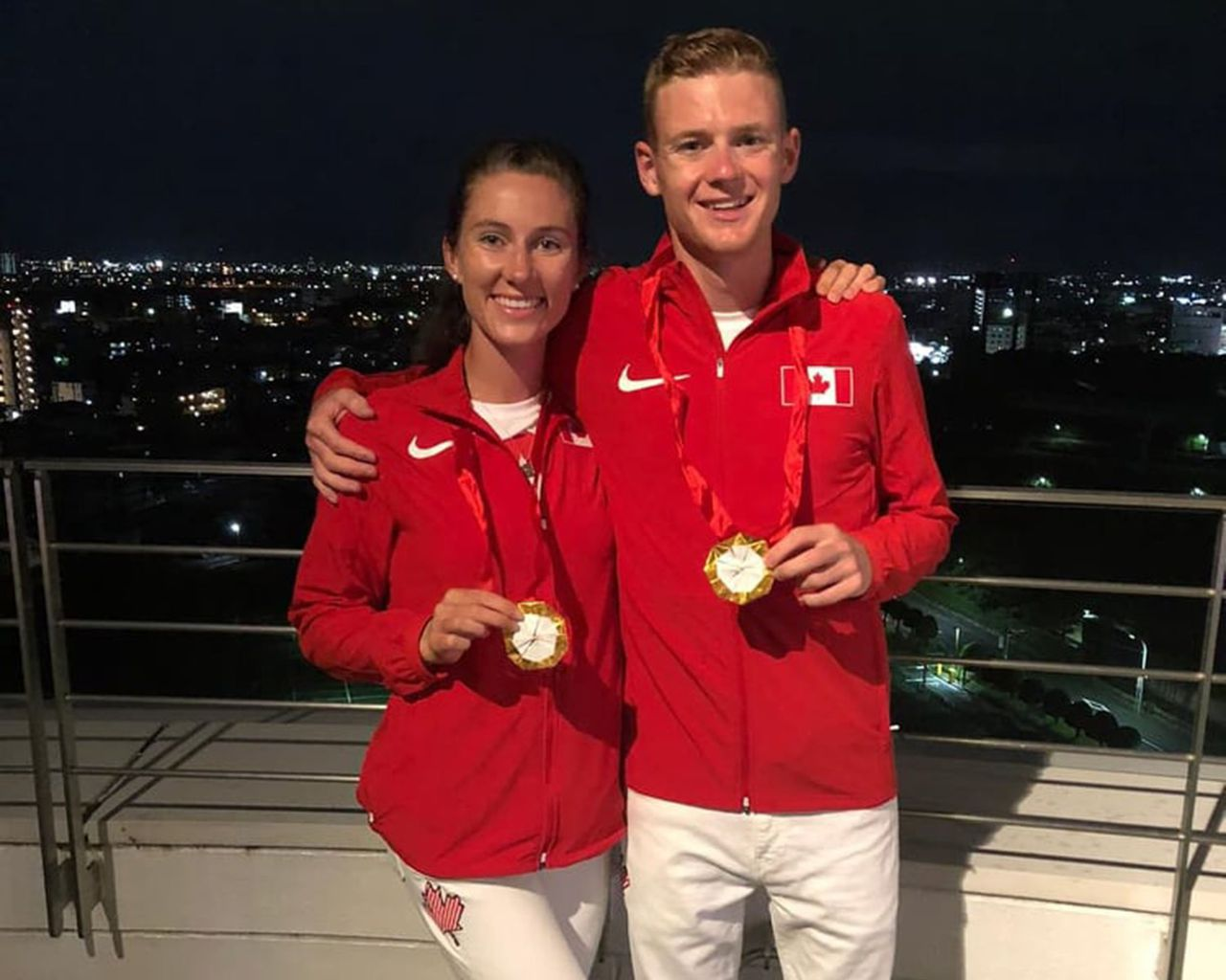 UBC Alumni Natalia Hawthrone and John Gay celebrate the Opening Ceremonies of the 2020 Olympic Games